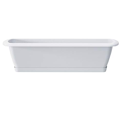 Erhard-Trading Juego de jardinera Alzira + plato de 80 cm, color blanco