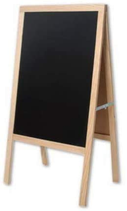 Pizarra de Pie de Madera Pizarra Doble Cara Pizarra Plegable y Decorativa para Restaurante Bar Cafetería Librería Hogar. Color Madera (NEGRO, 100x55 cm)