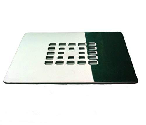 Rejilla cuadrada de 13 X 13 cm en acero inoxidable para platos de ducha de resina,pizarra,mármol,piedra