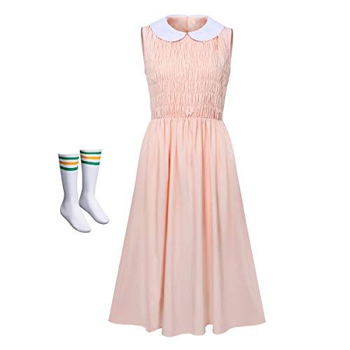NUWIND - Disfraz de Stranger Eleven para Mujer Falda Rosa Sin Mangas con Calcetínes Vestido Drama para Cosplay Halloween Adultos (XL)