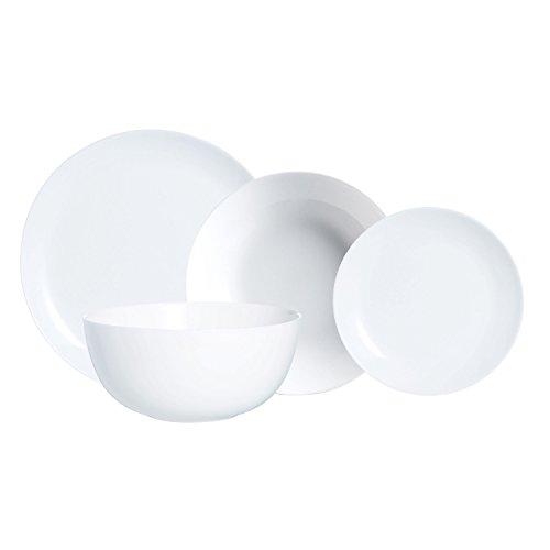 Luminarc Vajilla Redonda 19 Piezas Modelo Diwali Combinadas, Vidrio Opal, Blanco