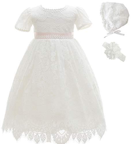 Ahaha - Vestido largo de bautizo para niña, para ocasiones especiales, bautizos, con sombrero y cinta para la frente Blanco 3 0-6 meses