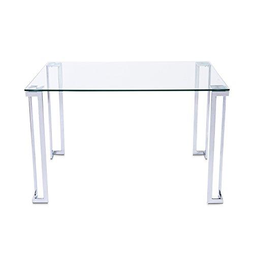 Dali, Mesa de Salon Rectangular, Mesa de Comedor o Cocina, Acabado en Cristal y Patas Cromadas, Medidas 120 cm (Ancho) x 80 cm (Fondo) x 75 cm (Alto)