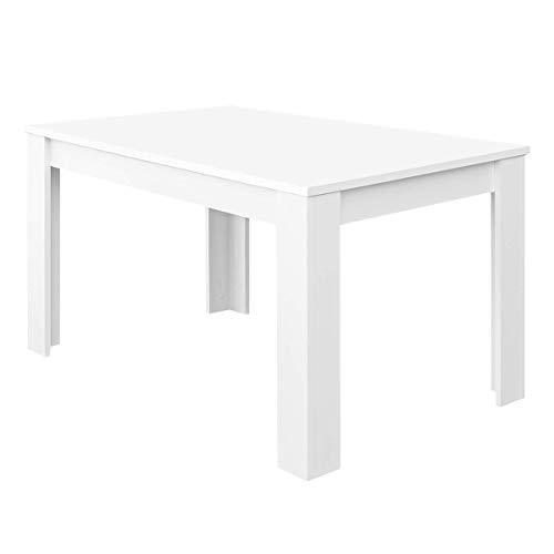 Habitdesign Mesa de Comedor Extensible, Mesa salón o Cocina, Acabado en Color Blanco Brillo, Modelo Kendra, Medidas: 140-190 cm (Largo) x 90 cm (Ancho) x 78 cm (Alto)