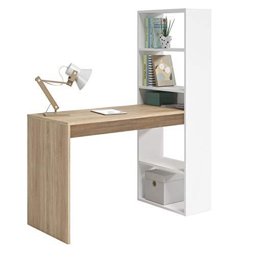 Habitdesign Mesa de Ordenador PC o Escritorio con Estanteria Reversible, Blanco Artik y Roble Canadian, Modelo Duplo, Medidas: 120 cm (Ancho) x 53 cm (Fondo) x 144 cm (Alto)