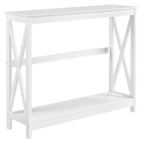 Yaheetech Mesa de Consola Blanca con Forma X Estantes Mesa Auxiliares para Recibidor Pasillos Salón Mesa Estrecha de Estilo Moderno 101 x 30 x 81 cm