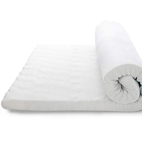Bedsure Topper Viscoelástico 135x190x7cm - Topper Colchón Antiestático con 1 Funda Extraíble y Lavable - Sobrecolchon Espuma con Efecto Memoria Hipoalergénico