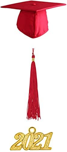 MWKL Lujoso Birrete y Toga de graduación Mate Unisex para Adultos con Borla Año Conjunto de amuletos 2021 para graduados universitarios o de Secundaria caritativos