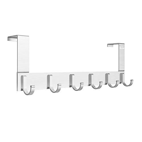 Anjuer Perchero para Puerta Colgadores de Puerta Aluminio Percha de Baño Gancho de Baño para los dormitorios baños armarios gabinete - 6 Ganchos