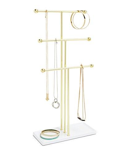 Umbra 299330-524 Trigem - Colgador de Joyas, color Blanco/Latón, 10.2 x 23.5 x 48.3 cm