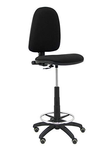 Piqueras Y Crespo T04CP Ayna bali- Taburete ergonómico, regulable en altura, aro reposapiés y ruedas de parquet, 100/123x46x40 cm,  Negro
