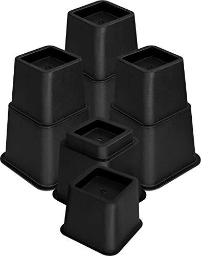 Utopia Bedding - 8 Piezas Elevadores de Muebles Ajustables de Calidad (4 largas y 4 Cortas) - Ahorro de Espacio Elevadores de Muebles para la Cama, la Mesa, la Silla o el sofá - (7 a 20cm) (Negro)