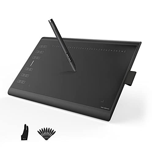 Huion Inspiroy H1060P Tableta Gráfica, Versión Mejorada de la Tableta Gráfica Huion New 1060PLUS con Lápiz sin Batería, Compatible con Windows Mac Android, óptima para Oficina en casa y E-Learning