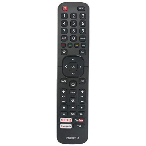 VINABTY EN2X27HS Mando a distancia de repuesto por HISENSE TV H65M5510 H65N5300 43K300UWTS H49N5700 HE49K300UWTS HE50N3000UWTS HE55K3300 HE43N3000UWTS HE49M2161FWTS0100 HE50K3300 H55MEC5650 H55MEC7050