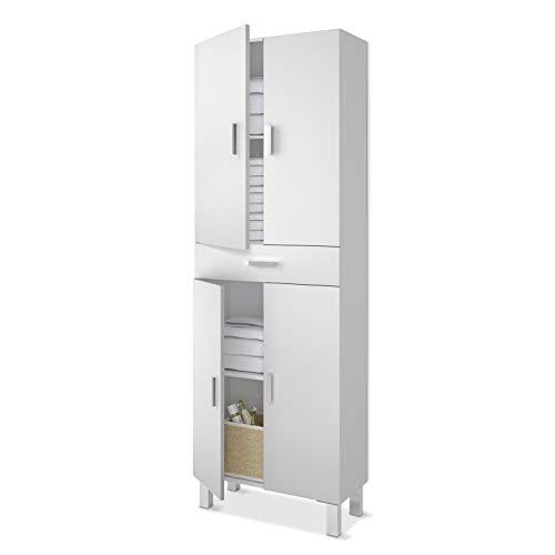 Columna de baño, mueble de lavabo, 4 puertas y 1 cajón, Modelo Aruba, Acabado en Blanco Brillo, Medidas: 60 cm (Ancho) x 182 cm (Alto) X 29 cm (Fondo)