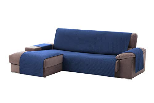 Textilhome - Funda Cubre Sofá Chaise Longue Adele, Protector para Sofás Acolchado Brazo Izquierdo. Tamaño -200cm. Color Azul (Visto DE Frente)