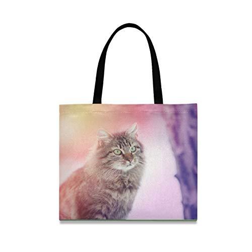Bolsa de lona Bolsa de tela de compras de gato siberiano Bolsa reutilizable Bolsas de hombro