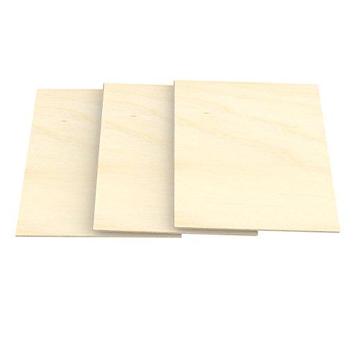 AUPROTEC 3x A5 Placas de madera 5mm Contrachapado de Abedul (148 mm x 210 mm) para manualidades bricolaje marquetería madera maciza contrachapada