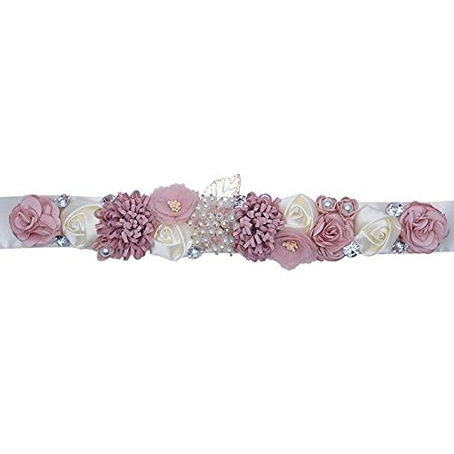 Afrsmw Cinturón para Vestido de Novia con Pedrería Perlas Flor Mujer Niña Dama de Honor Cinturones,230cm*4cm