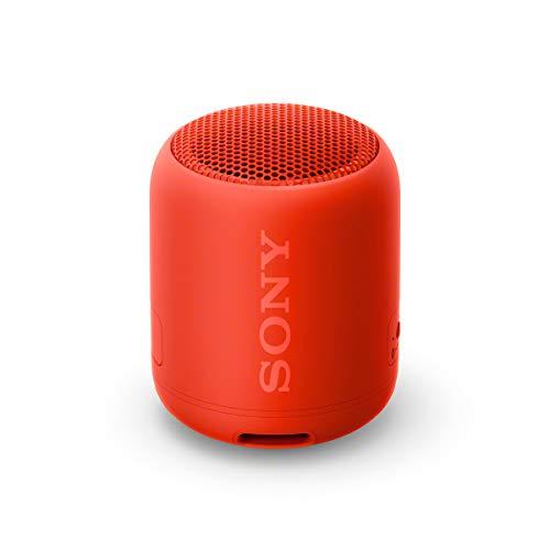 Sony SRS-XB12, Altavoz Inalámbrico Portátil, Bluetooth, Extra Bass, Diseño Portátil, Batería hasta 16h, Resistente al Agua y Polvo IP67, Inalámbrico y Alámbrico MicroUSB, Rojo