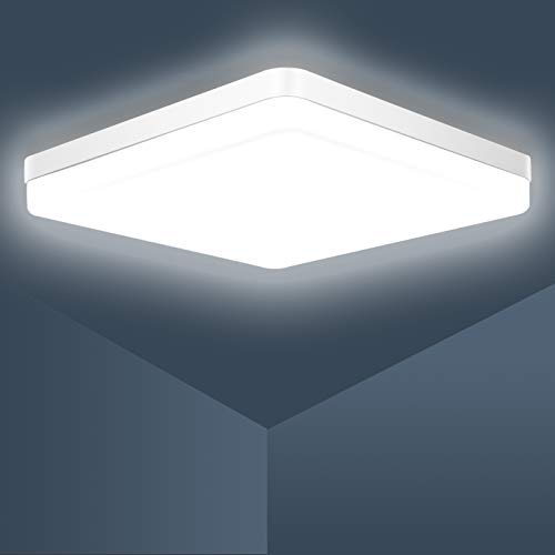 Lampara Led Techo,Ouyulong Lámpara De Techo LED Cuadrada 36W, Impermeable IP54 3240LM 6500K Plafon De Techo Led, Para Baño Cocina Sala de Estar Dormitorio Pasillo Habitacion Balcón
