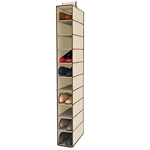 Zapatero de Tela para Colgar en el Armario. Estantería Colgante para organizar Calzado con 10 estantes. Armario de Tela para Guardar Zapatos Bolsos. Zapatero 15x30x120cm Fijación con Velcro