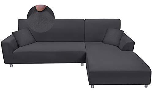 Taiyang Funda para Sofà Seccional, Fundas para Sofa Chaise Longue, Funda de sofá en Forma de L de Tela Elástica y Cómoda con 2 Fundas de Almohada ( 3 Plazas + 3 Plazas, Gris)