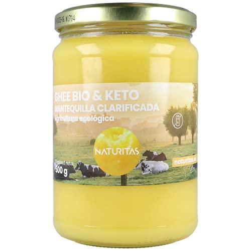 Naturitas Ghee Mantequilla Clarificada Bio | 500ml | Agricultura ecológica | Vacas alimentadas de pastos ecológicos | No contiene hormonas | Facilita la digestión | Protege el colon.