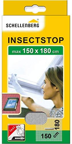 Schellenberg 50328 Mosquitera de protección para claraboyas con cremallera, lavable, Montaje rápido y sencillo desde el interior, sin taladros, Incluye banda de fijación, 150 x 180 cm, Blanco