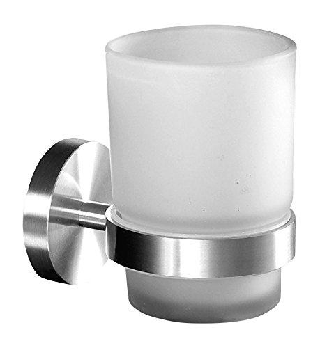 Ambrosya   Exclusivo Titular de Cepillo de Dientes Hecho de Acero Inoxidable   Cuarto de baño Taza de baño Soporte de Vidrio Montaje Inodoro Pasta de Dientes (Acero Inoxidable (Cepillado))