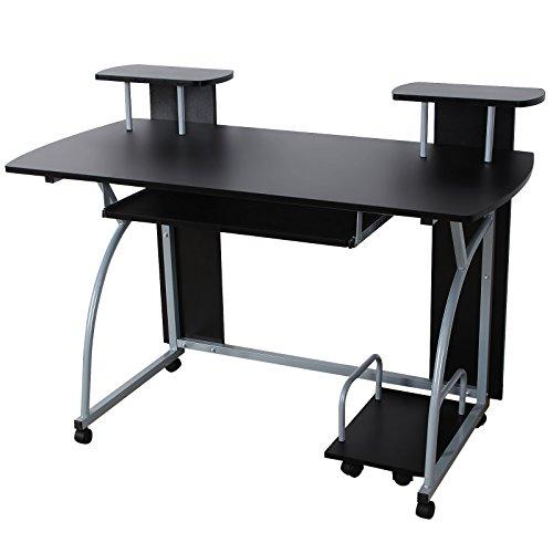 VASAGLE Escritorio de la Computadora, Mesa de Ordenador, con Portateclado, Diseño Moderno, Escritorio Compacto para Hogar u Oficina, 120 x 59 x 90 cm, Negro LCD812B