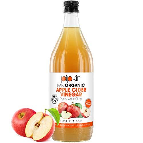 Pipkin Vinagre de Sidra de Manzana 100% Orgánico, Con Madre, Puro, Sin Refinar y Sin Filtrar, Vegano y Vegetariano, 1L (Frasco de Vidrio)