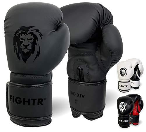 FIGHTR Guantes de Boxeo, Ideales para Estabilidad y Fuerza de Impacto, Guantes para Boxeo, MMA, Muay Thai, Kickboxing y Artes Marciales, Incluye Bolsa de Transporte (All Black, 08 oz)