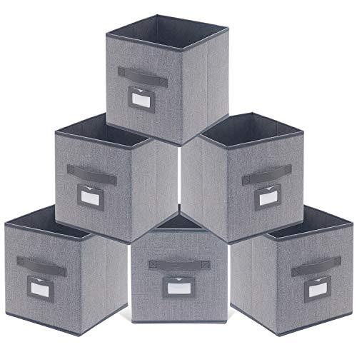 homyfort Juego de 6 Caja de Almacenaje, Cajas de Juguetes, Caja de Tela para Almacenaje Cubos Plegable, con Etiqueta y Manijas, 30 x 30 x 30 cm, Gris Lino, XDB06PL