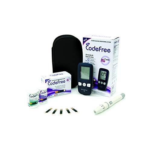 SD Codefree Glucometro Lector Medidor de niveles de glucosa y azucar en Sangre Kit de control de la Diabetes y la Glucemia en mg/dL (Monitor)