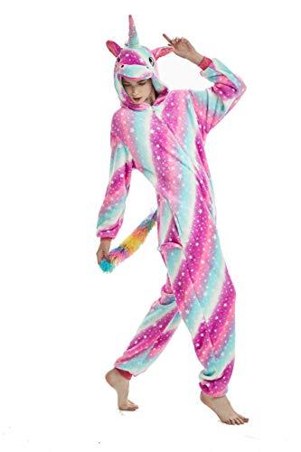 Pijama para Animal Adultos Capucha Unicornio Ropa De Dormir Dibujos Animados Invierno Pijama (Rose Star, S Medida para Altura 145-155 CM (57'-61'))