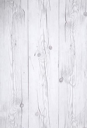 (Blanco Vintage, Paquete de 1) Papel tapiz de mural autoadhesivo con veta de madera reciclada y rústica 50cm X 15M (19,6' X 590'), 0,15mm Para revestimiento de restauración de muebles, sala de estar