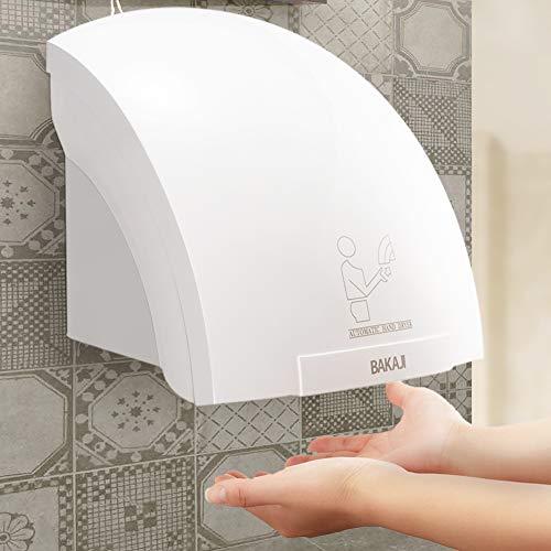 BAKAJI Secador de Manos automático eléctrico Hotel, secador de Manos de Aire Caliente de Pared baño con Sensor fotocélula (2000 W), Blanco
