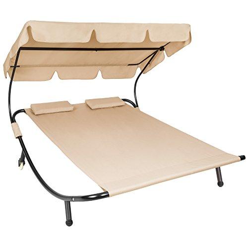 TecTake 800089 Tumbona Doble de Jardín, Parasol Plegable, 2 Cojines, Estructura de Metal, Interior & Exterior (Beige   No. 401223)