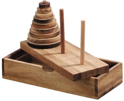 Logica Juegos Art. Torre de Hanoi 9 Discos - Rompecabezas de Madera Preciosa - Distintos Niveles de Dificultad