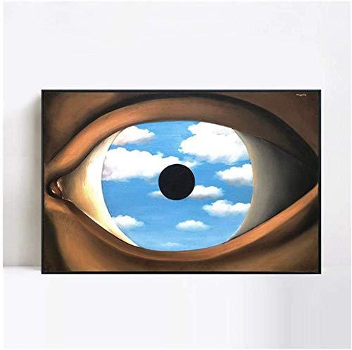 KELDOG Carteles de Arte Imprime el Espejo Falso 1928 de Rene Magritte Lienzo Pintura Cuadro de Arte de Pared para Sala de Estar Sala de Estar decoración del hogar -60X80Cm sin Marco