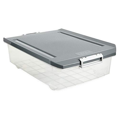 Tatay Caja Almacenaje Multiusos con Tapa, Bajo Cama, 32 L de Capacidad, Con Asas y Ruedas, de Polipropileno, Libre de BPA, Gris, Medidas 40 x 57 x 18 cm