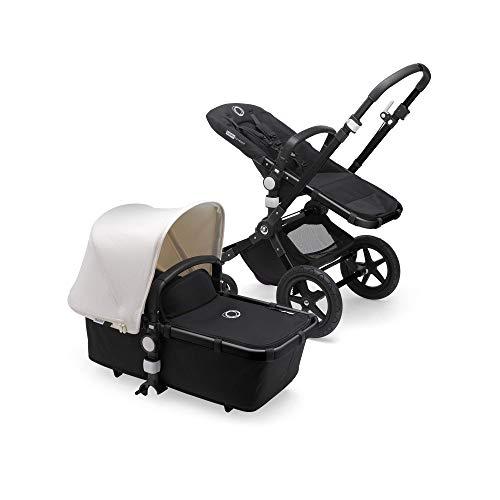Bugaboo Cameleon 3 Plus, sistema de viaje 2 en 1 fácil y versátil: silla de paseo, carrito confortable con capazo, desde el nacimiento y hasta los 4 años, chasis negro y capota blanco natural