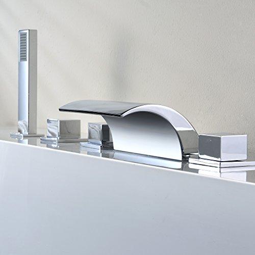 Auralum Sistema Ducha para Bañera Grifo de Ducha Bañera Cascada Acero Inox Ducha de Mano Extraible Cinco Orificio para Bañera