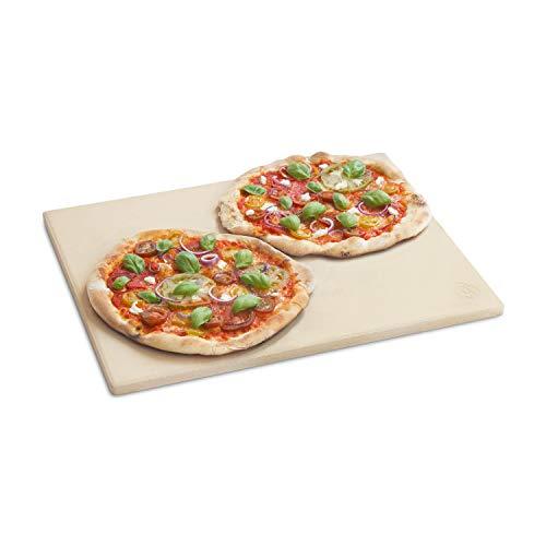 BURNHARD Piedra para Pizza Rectangular 45 x 34 x 1,5 cm Adecuado para Parrilla, Hecho de cordierit, preparación de Pan, Tarta flambeada y Pizza casera, Asar a la Piedra, Pan de ladrillo
