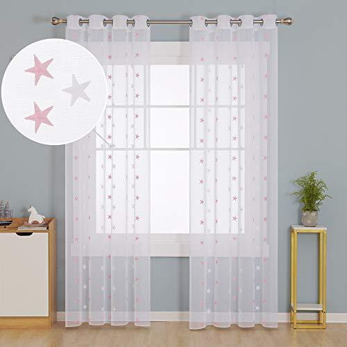 Deconovo Vsillos Traslúsidos Salón Dormitorio Moderno con Ojales 140 x 245 cm Juego de 2 Rosa Estrellas y Blanco