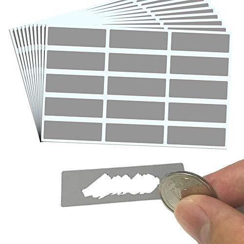 150 piezas, 48 x 15 mm, Tarjeta Rasca Etiqueta Pegatina, Scratch Sticker - Rectángulo Gris