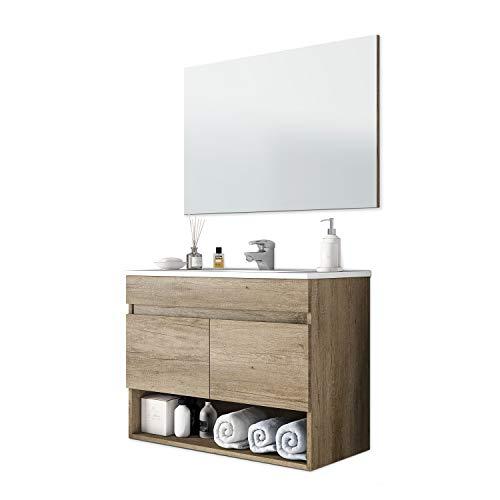 ARKITMOBEL Mueble de Baño Suspendido con 2 Puertas y Espejo, Modulo Colgante, Modelo Cotton, Acabado en Nordik, Medidas: 80 cm (Ancho) x 64 cm (Alto) x 45 cm (Fondo)