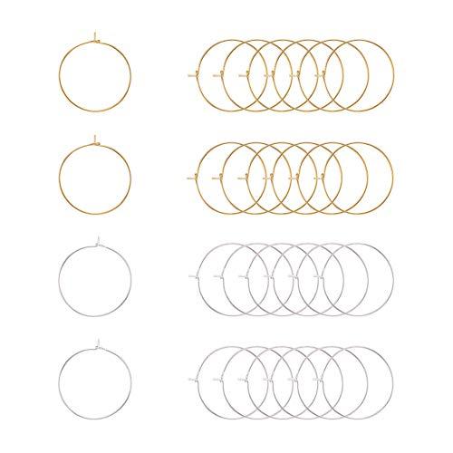 PandaHall Elite 100 piezas Oro / Plata 25mm Latón Pendientes de aro redondo Aros de alambre Anillos de cristal de vino Aro de abalorios para hacer manualidades DIY Favores de fiesta