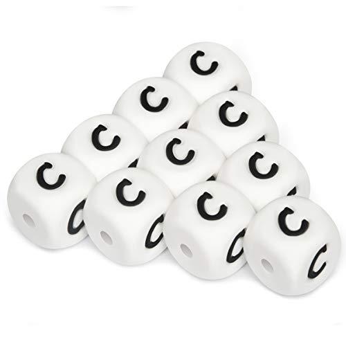 Silicona Letras Cuentas de Dentición,10pcs English Alphabet 12mm Cube Haga su propio kit de bricolaje a granel Nombre personalizado Baby Teether Chew Beads Sin BPA